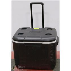 LARGE COLEMAN WHEELED WITH POP UP HANDLE COOLER