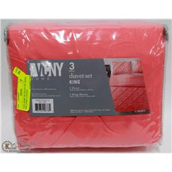 VCNY HOME 3PC DUVET SET ,KING SIZE ,CORAL COLOUR