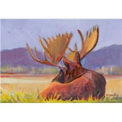 """Contemplative Moose"" by Nancy Dunlop Cawdrey"
