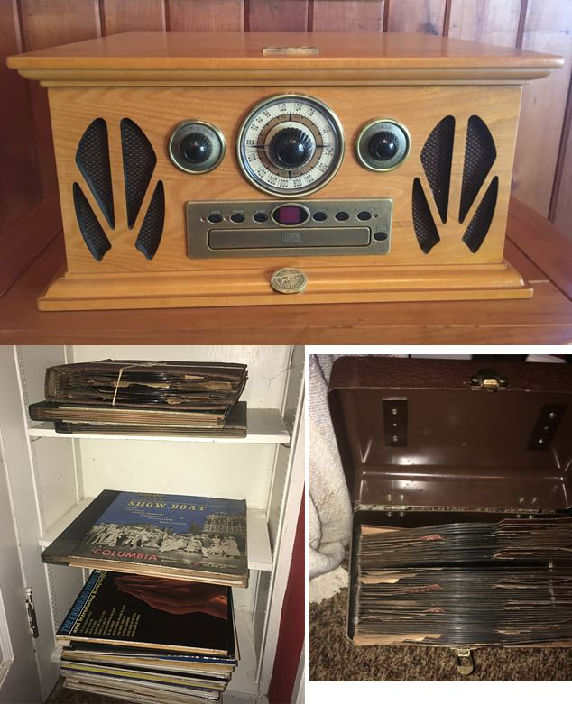 Old Radio Replica Turntable And Records