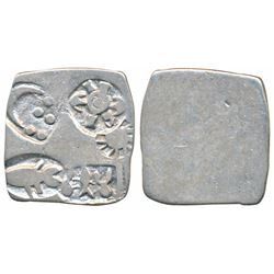 Archaic Punch Marked Coinage,  Silver Karshapana,  3.1g