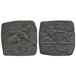 Ancient Chola Sangam Age,  Copper Square Unit,  2.79g