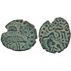 Cholas,  Kulottunga Chola (1070-1120 AD),  Copper Kasu,  2.7g