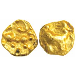 Hoysalas,  Gold Fanam,  0.36g,  obv. Lion to right with upraised paw