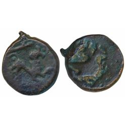 Vijayanagar Feudatory,  Copper,  6.76g,  obv. lion to right