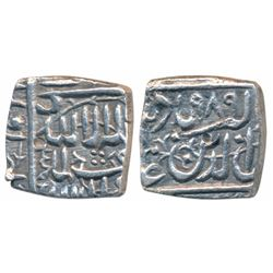 Akbar,  Silver Square ½ Rupee,  5.35g,  Ahmedabad Mint (off flan)
