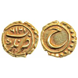 Tipu Sultan,  Gold Fanam,  Nagar Mint,  AM 1216 (KM 108).