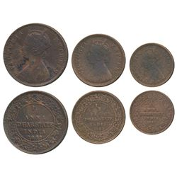 Anand Rao III,  Copper ¼ Anna,  ½ Pice and 1/12 Anna