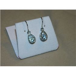EARRINGS - SILVER TONE - CLEAR CRYSTALS IN NICKLE FREE SETTING