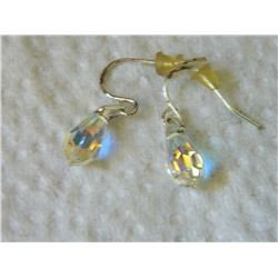 EARRINGS- CRYSTAL TEAR DROPS WITH STERLING SILVER FRENCH HOOKS