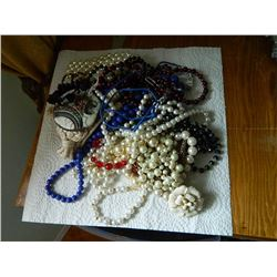 LARGE LOT OF ASSORTED BEADED JEWELRY - FROM ESTATE SOME AS-IS - FLAT SHIPPING RATE DOES NOT APPLY (t