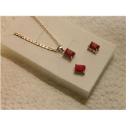 NECKLACE & EARRING 3PC SET - 4TCW EMERALD CUT RUBYS - RICH DEEP RED PURPLE IN STAMPED 925 STERLING S