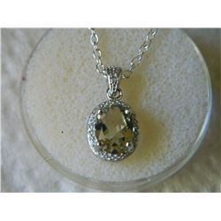 NECKLACE - 1.75 CT OVAL FACETED GREEN AMETHYST & DIAMOND IN STERLING SILVER SETTING - INCLUDES CERTI
