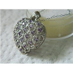 NECKLACE - 20 ROUND FACETED AMETHYST IN STERLING SILVER 3D HEART SETTING - RETAIL ESTIMATE $350