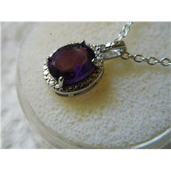 NECKLACE - 3.5CT AMETHYST & DIAMOND NECKLACE OVAL CUT AMETHYST IN STERLING SILVER SETTING - INCLUDES