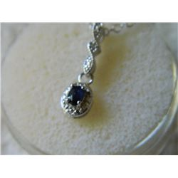 NECKLACE - BLUE SAPPHIRE & DIAMOND IN STERLING SILVER SETTING - RETAIL ESTIMATE $325
