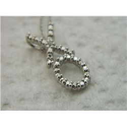 NECKLACE - DIAMOND IN STAMPED 925 STERLING SILVER HUGS & KISSES  (XO) DESIGNED SETTING - INCLUDES ST