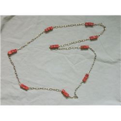 NECKLACE - JASPER CARVED BLOCKS ON REALLY LONG CHAIN - 58""