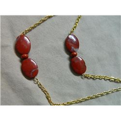 NECKLACE - JASPER GEMSTONES ON EXTRA LONG CHAIN - 58""