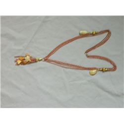 NECKLACE - MULTI CHAIN NECKLACE WITH COPPER LIKE CHAIN AND FREE FORM POLISHED STONES - 30""