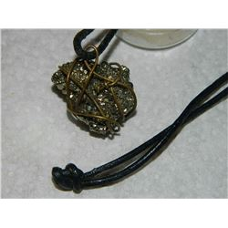NECKLACE - ON ROPE - AUTHENTIC FOOLS GOLD NUGGET - WEIGHT ~20 GRAMS