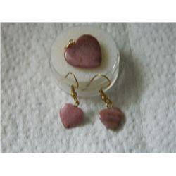 NEW EARRINGS & PENDANT SET - JASPER STONE HEARTS