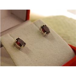 NEW EARRINGS - NEW OVAL FACETTED GARNETS IN STERLING SILVER STUD SETTING - RETAIL ESTIMATE $275