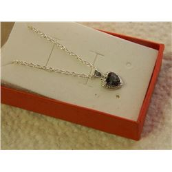 NEW NECKLACE - 1.9CT HEART FACETTED MYSTIC TOPAZ & DIAMOND IN STELRING SILVER SETTING - INCLUDES CER
