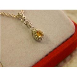 NEW NECKLACE - PEAR FACETTED SAPPHIRE IN STERLING SILVER SETTING - INCLUDES CERTIFICATE $250