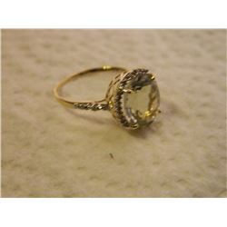 NEW RING - 4.5CT GREEN AMETHYST & 22 DIAMONDS IN 10K GOLD SETTING - INCLUDES CERTIFICATE $1525