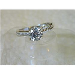 RING - 18K WHITE GOLD PLATED WITH ROUND FACETED SOLITAIRE CRYSTAL - RETAIL ESTIMATE $350