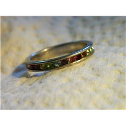 RING - MULTI GEMSTONES SET IN 925 STERLING SILVER BAND DESIGN - INCLUDES BUT NOT LIMITED TO PERIDOT,