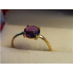 RING - RICH PURPLE ROUND CUSION CUT AMETHYST & 4 DIAMONDS IN STERLING SILVER SOLITAIRE DESIGNED SETT