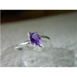 RING - STERLING SILVER - PURPLE STONE - STAMPED 925