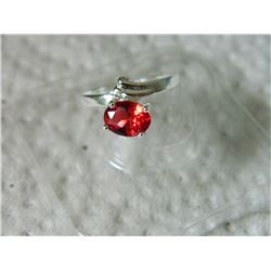 RING - STERLING SILVER - RED STONE - STAMPED 925