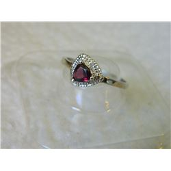 RING - TRILLION FACETED GARNET & DIAMOND IN STERLING SILVER SETTING - INCLUDES PLATINUM FINISH - RET
