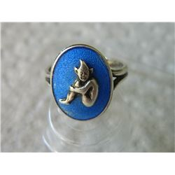 "RING- FROM ESTATE  - LITTLE PIXI -stamped ""silver"" made in Engand"""