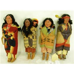 4 Antique Skookum Dolls