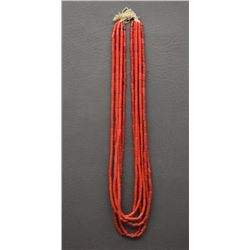 SIX STRANDS OF CORAL GLASS TRADE BEADS
