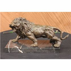 Angry Hungry Male Lion Bronze Sculpture on Marble Base Figurine