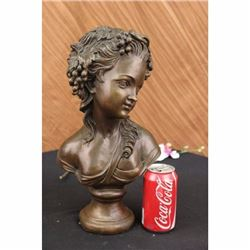 Bronze Sculpture Wonderful Bust Young Lady By Thomas Art Deco Hot Cast Figurine