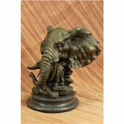 Elephant Head Bust with Baby Bronze Sculpture on marble base Statue