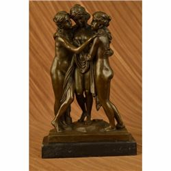 Three Graces Bronze Sculpture on marble base