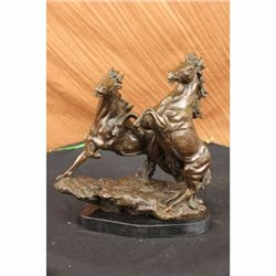 Two rearing horses bronze sculpture