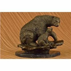 Bear with Cub Bronze Sculpture on marble base Figurine