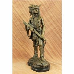 Native American Indian Chief Bronze Figurine on Marble Base Sculpture