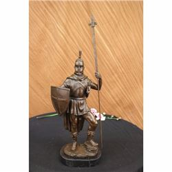 Roman Warrior With Armor Bronze Sculpture on marble base Statue