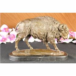 American Buffalo Bison Western Decor Bronze Marble Statue Sculpture