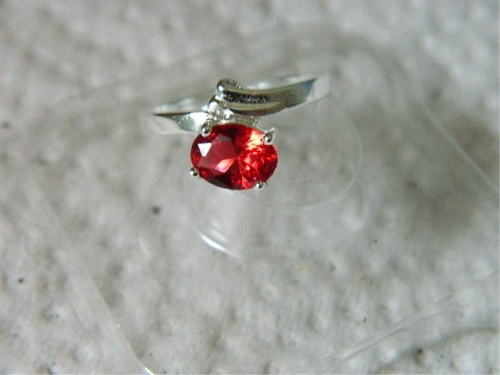 Silver Red Granite : Ring sterling silver red stone stamped