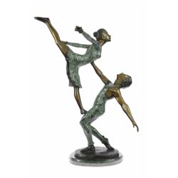 "17 LBS Ballerina Piece Bronze sculpture on marble base (25""X26"")"